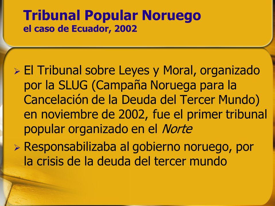 Tribunal Popular Noruego el caso de Ecuador, 2002 El Tribunal sobre Leyes y Moral, organizado por la SLUG (Campaña Noruega para la Cancelación de la D
