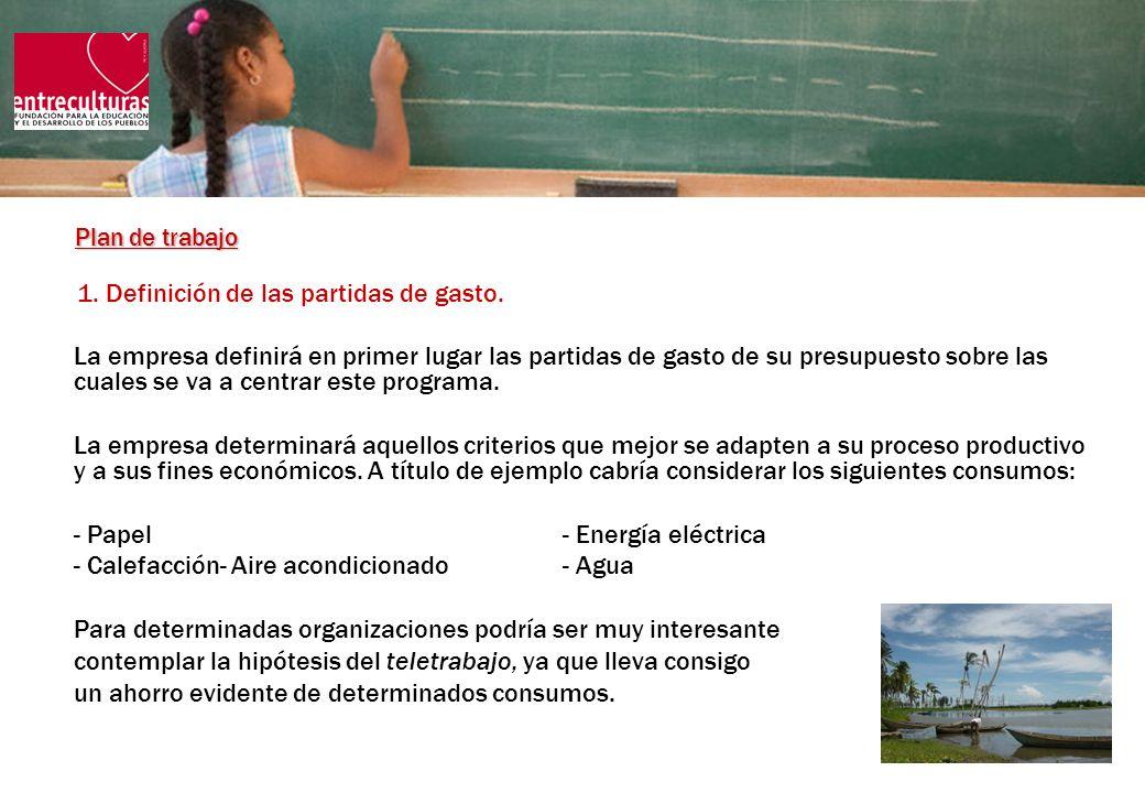 Plan de trabajo (2) 2.Determinación de los objetivos de referencia de los gastos a considerar.