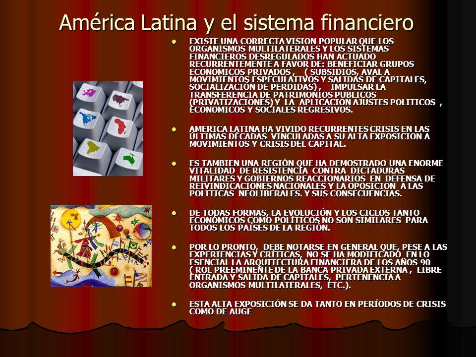 América Latina y el sistema financiero EXISTE UNA CORRECTA VISION POPULAR QUE LOS ORGANISMOS MULTILATERALES Y LOS SISTEMAS FINANCIEROS DESREGULADOS HAN ACTUADO RECURRENTEMENTE A FAVOR DE: BENEFICIAR GRUPOS ECONOMICOS PRIVADOS, ( SUBSIDIOS, AVAL A MOVIMIENTOS ESPECULATIVOS Y SALIDAS DE CAPITALES, SOCIALIZACIÓN DE PERDIDAS), IMPULSAR LA TRANSFERENCIA DE PATRIMONIOS PUBLICOS (PRIVATIZACIONES) Y LA APLICACION AJUSTES POLITICOS, ECONOMICOS Y SOCIALES REGRESIVOS.