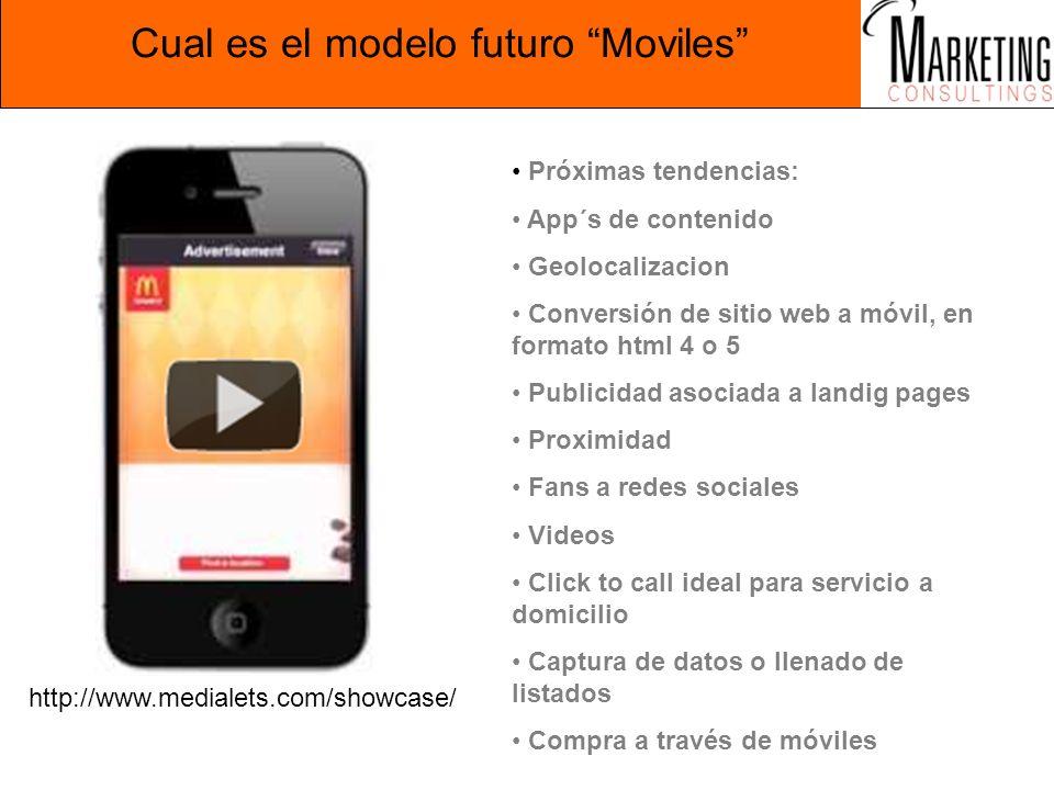 Cual es el modelo futuro Moviles http://www.medialets.com/showcase/ Próximas tendencias: App´s de contenido Geolocalizacion Conversión de sitio web a