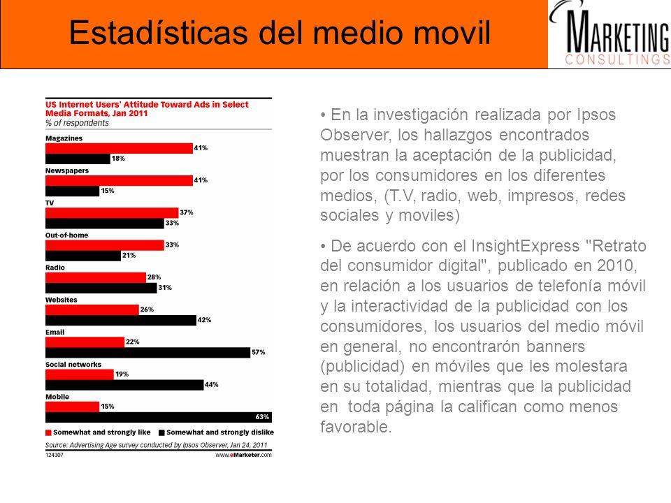 Estadísticas del medio movil En la investigación realizada por Ipsos Observer, los hallazgos encontrados muestran la aceptación de la publicidad, por