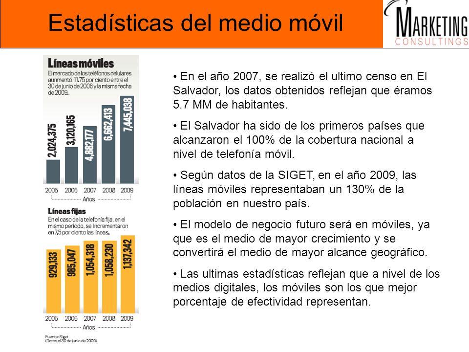Estadísticas del medio móvil En el año 2007, se realizó el ultimo censo en El Salvador, los datos obtenidos reflejan que éramos 5.7 MM de habitantes.