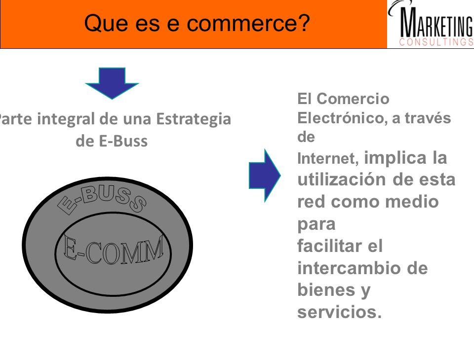Que es e commerce? Parte integral de una Estrategia de E-Buss El Comercio Electrónico, a través de Internet, implica la utilización de esta red como m