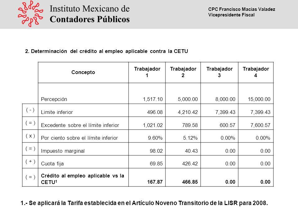 CPC Francisco Macías Valadez Vicepresidente Fiscal 1.- Se aplicará la Tarifa establecida en el Artículo Noveno Transitorio de la LISR para 2008.