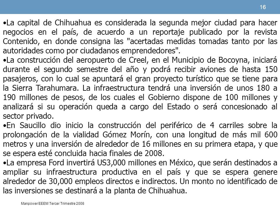 16 Manpower EEEM Tercer Trimestre 2008 La capital de Chihuahua es considerada la segunda mejor ciudad para hacer negocios en el país, de acuerdo a un reportaje publicado por la revista Contenido, en donde consigna las acertadas medidas tomadas tanto por las autoridades como por ciudadanos emprendedores .