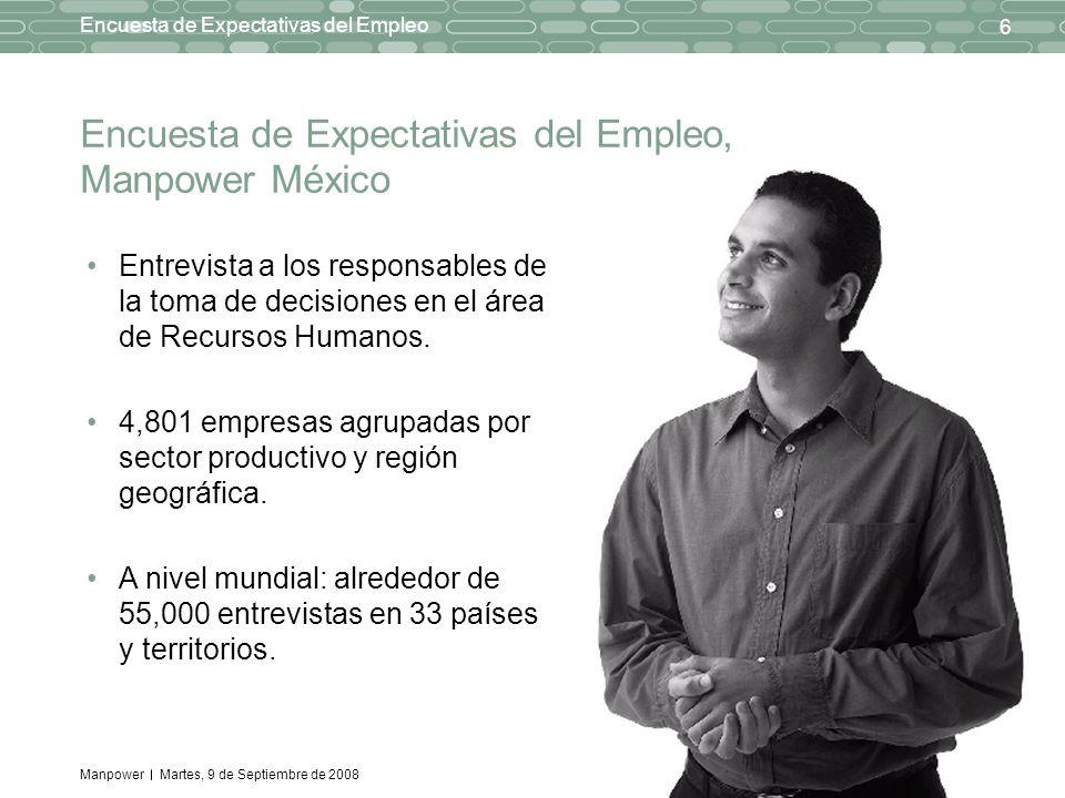 Manpower 6 Encuesta de Expectativas del Empleo Martes, 9 de Septiembre de 2008 Entrevista a los responsables de la toma de decisiones en el área de Recursos Humanos.