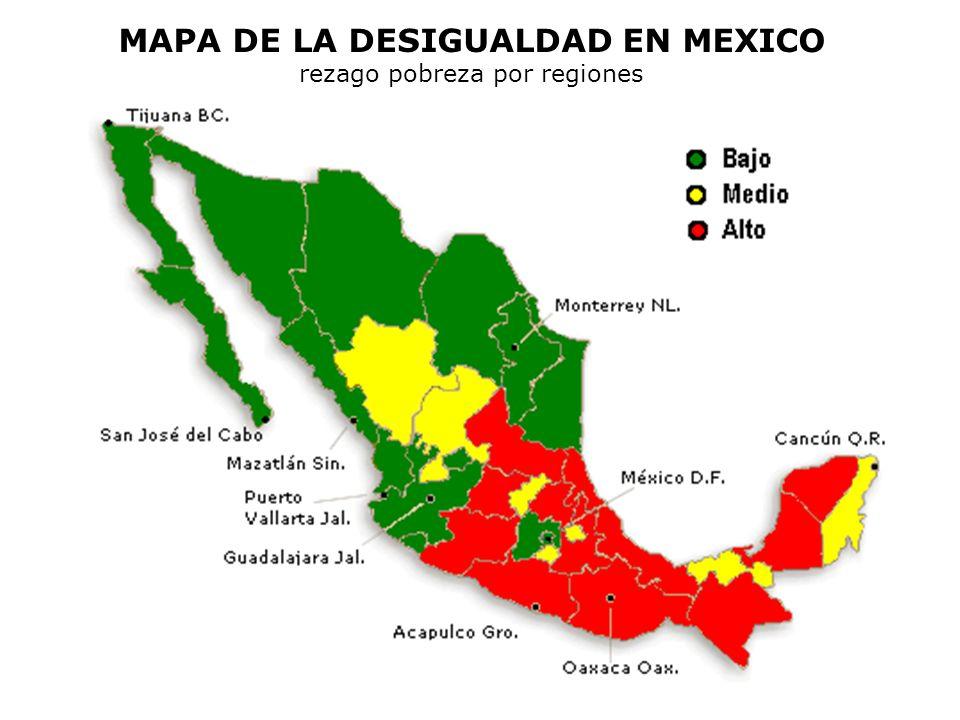 MAPA DE LA DESIGUALDAD EN MEXICO rezago pobreza por regiones