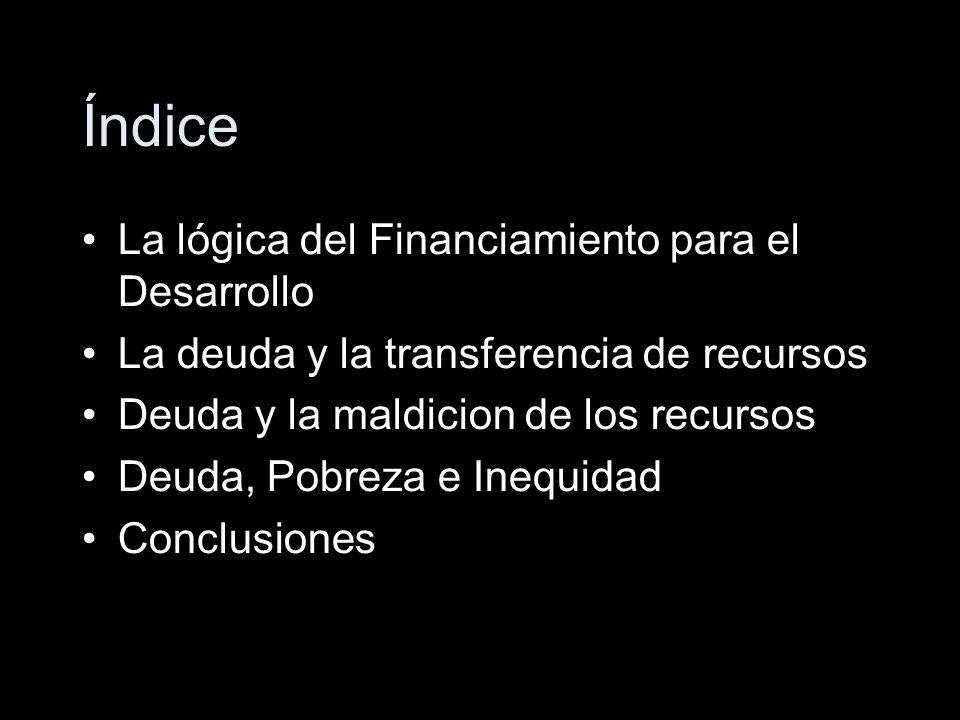 Índice La lógica del Financiamiento para el Desarrollo La deuda y la transferencia de recursos Deuda y la maldicion de los recursos Deuda, Pobreza e Inequidad Conclusiones