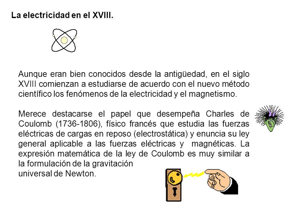 La electricidad en el XVIII. Aunque eran bien conocidos desde la antigüedad, en el siglo XVIII comienzan a estudiarse de acuerdo con el nuevo método c
