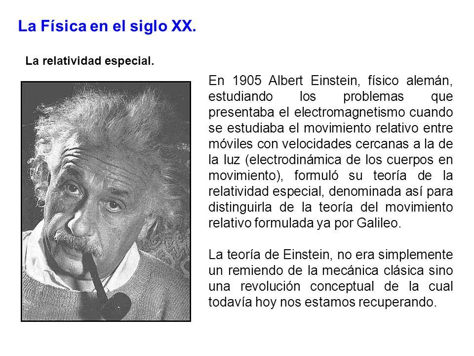 La Física en el siglo XX. La relatividad especial. En 1905 Albert Einstein, físico alemán, estudiando los problemas que presentaba el electromagnetism