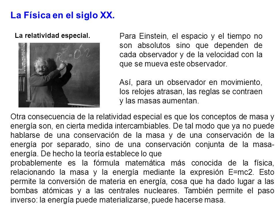 La Física en el siglo XX. La relatividad especial. Para Einstein, el espacio y el tiempo no son absolutos sino que dependen de cada observador y de la