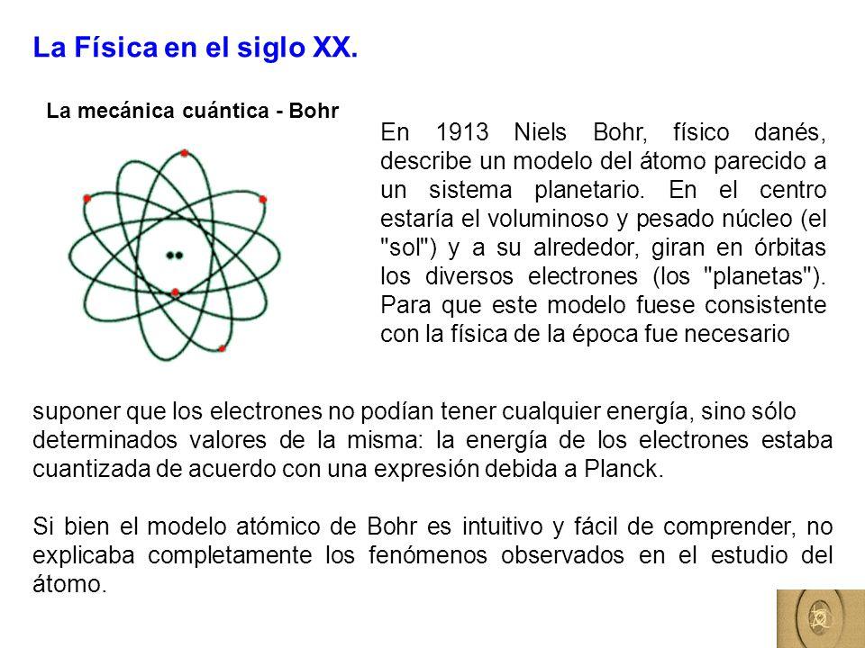 La Física en el siglo XX. La mecánica cuántica - Bohr En 1913 Niels Bohr, físico danés, describe un modelo del átomo parecido a un sistema planetario.