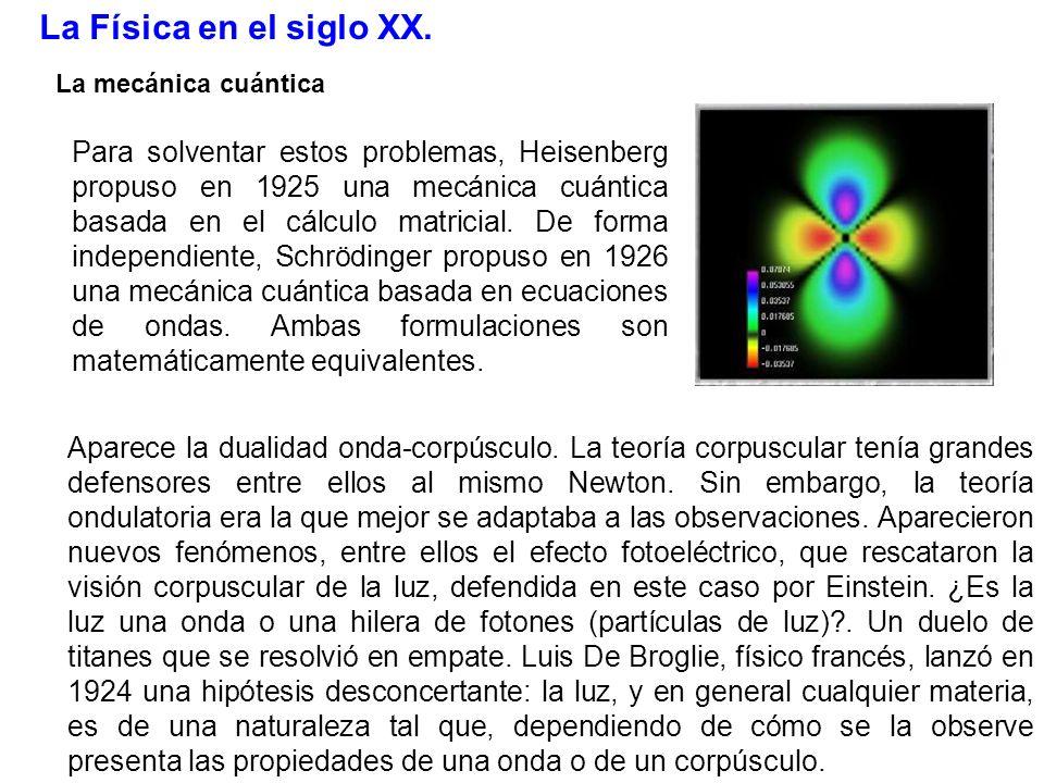 La Física en el siglo XX. La mecánica cuántica Para solventar estos problemas, Heisenberg propuso en 1925 una mecánica cuántica basada en el cálculo m