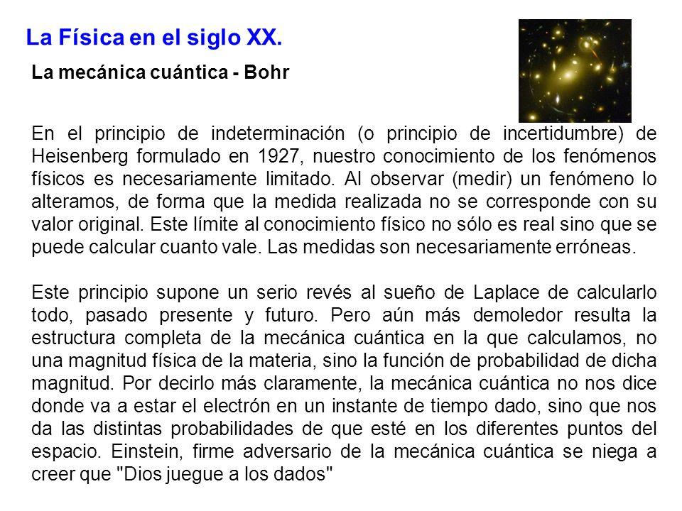 La Física en el siglo XX. La mecánica cuántica - Bohr En el principio de indeterminación (o principio de incertidumbre) de Heisenberg formulado en 192
