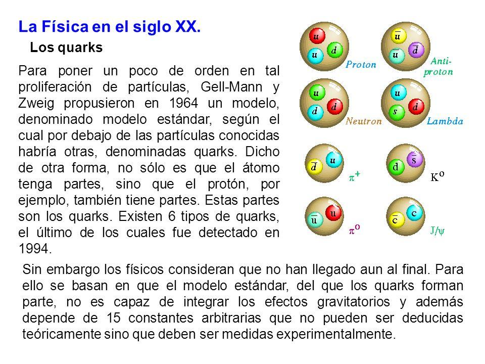 La Física en el siglo XX. Los quarks Para poner un poco de orden en tal proliferación de partículas, Gell-Mann y Zweig propusieron en 1964 un modelo,