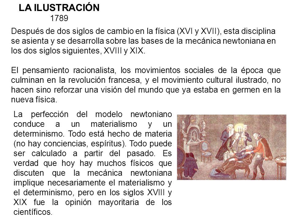 LA ILUSTRACIÓN 1789 Después de dos siglos de cambio en la física (XVI y XVII), esta disciplina se asienta y se desarrolla sobre las bases de la mecáni