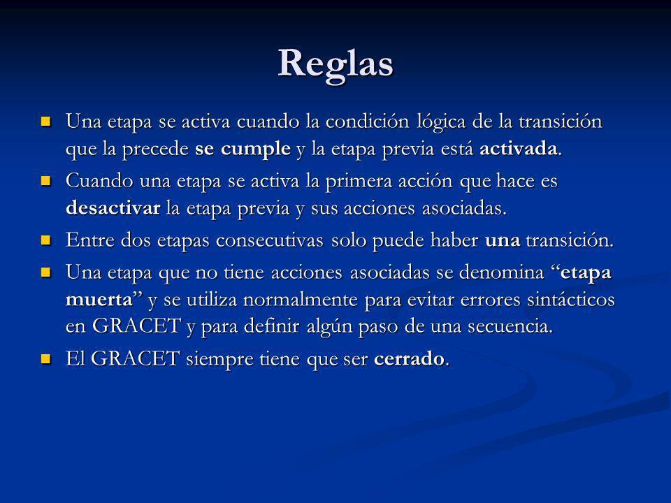 Reglas Una etapa se activa cuando la condición lógica de la transición que la precede se cumple y la etapa previa está activada.