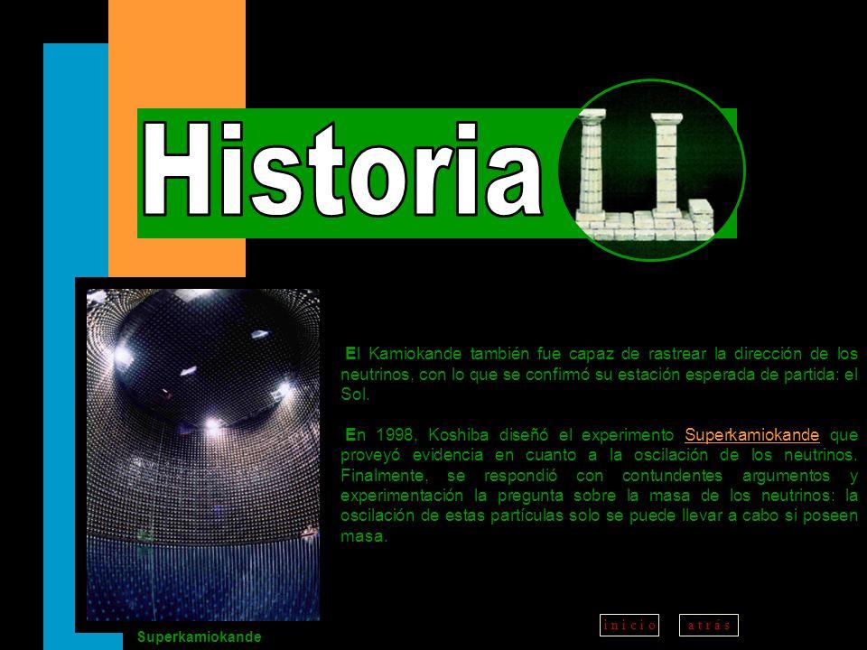 a t r á ss i g u i e n t ei n i c i o El Kamiokande también fue capaz de rastrear la dirección de los neutrinos, con lo que se confirmó su estación es