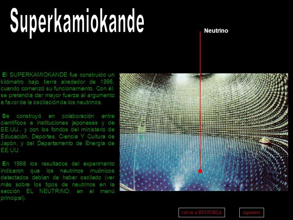 a t r á ss i g u i e n t ei n i c i o Neutrino El SUPERKAMIOKANDE fue construido un kilómetro bajo tierra alrededor de 1996, cuando comenzó su funcion