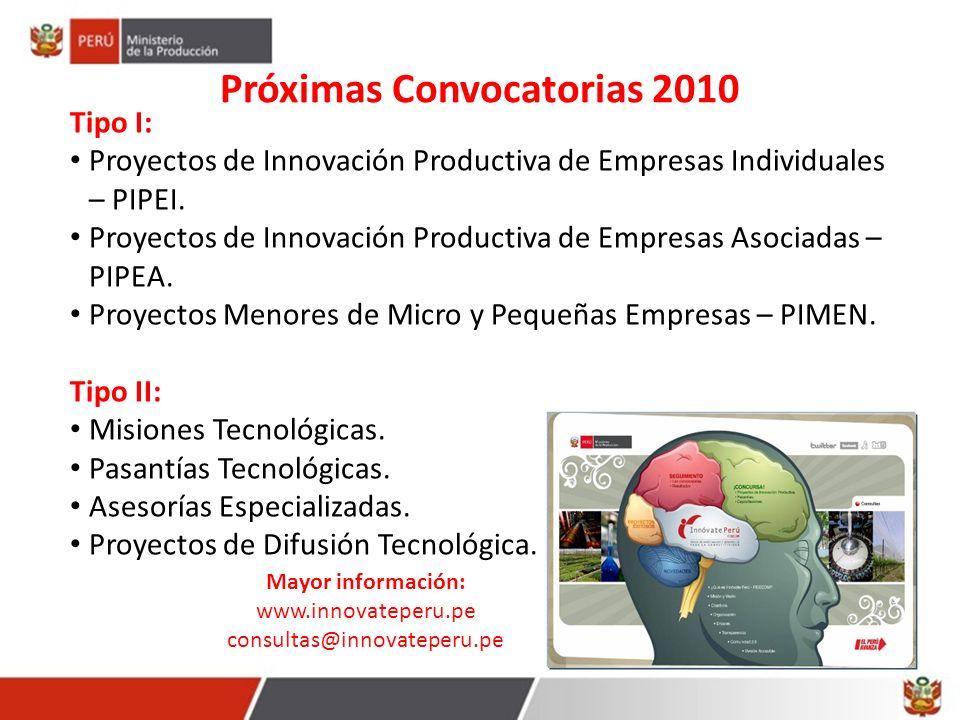 Próximas Convocatorias 2010 Mayor información: www.innovateperu.pe consultas@innovateperu.pe Tipo I: Proyectos de Innovación Productiva de Empresas In