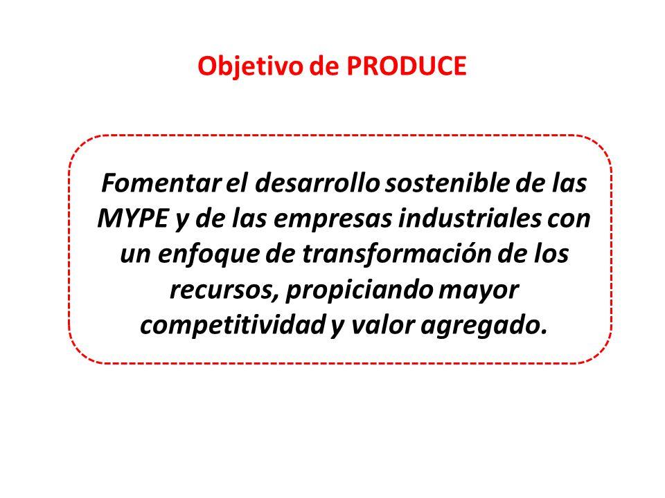 Objetivo de PRODUCE Fomentar el desarrollo sostenible de las MYPE y de las empresas industriales con un enfoque de transformación de los recursos, pro