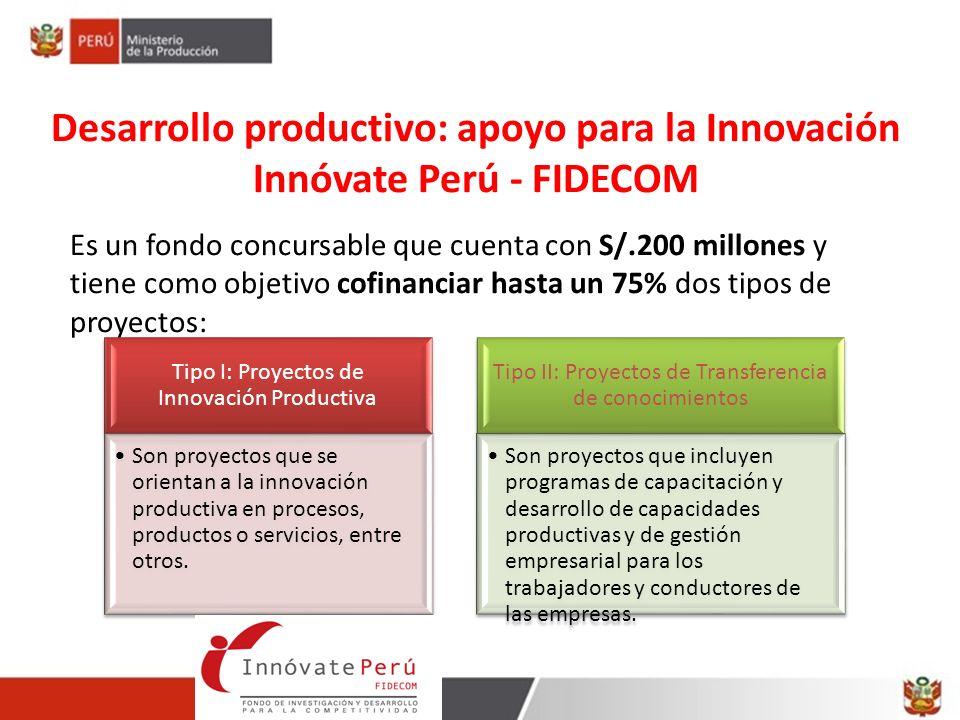 Es un fondo concursable que cuenta con S/.200 millones y tiene como objetivo cofinanciar hasta un 75% dos tipos de proyectos: Desarrollo productivo: a