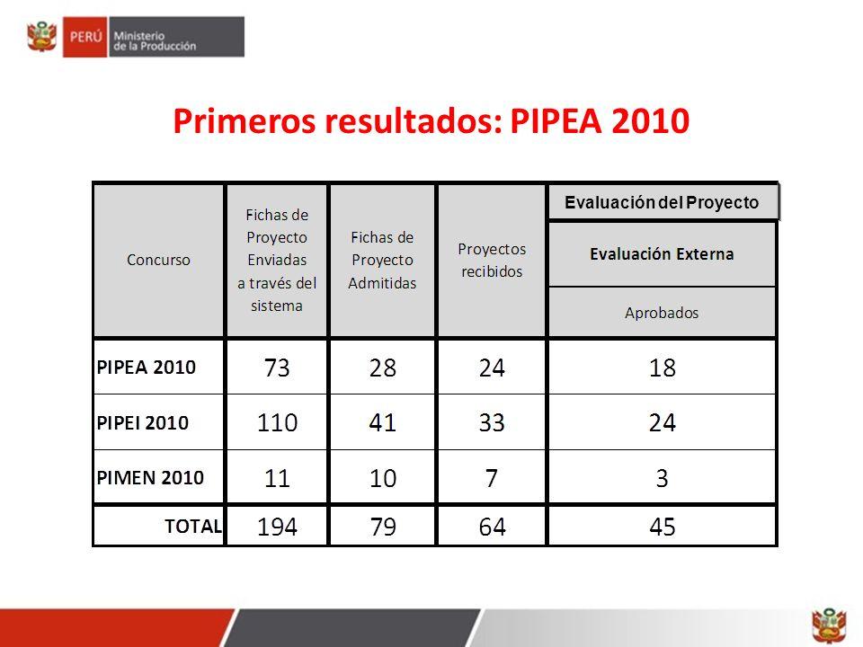 Evaluación del Proyecto Primeros resultados: PIPEA 2010