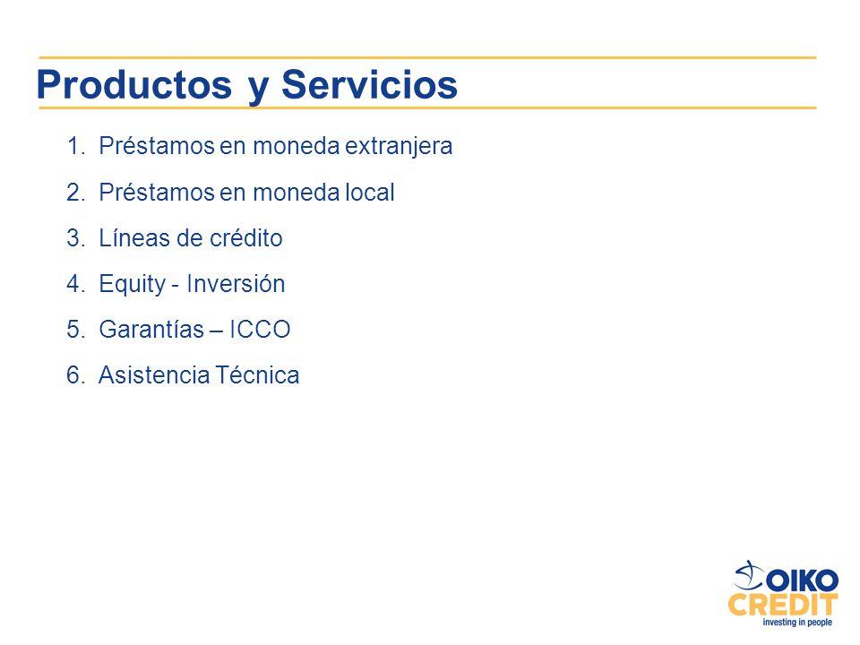 Productos y Servicios 1.Préstamos en moneda extranjera 2.Préstamos en moneda local 3.Líneas de crédito 4.Equity - Inversión 5.Garantías – ICCO 6.Asist