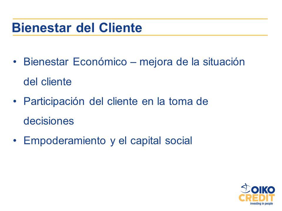 Bienestar del Cliente Bienestar Económico – mejora de la situación del cliente Participación del cliente en la toma de decisiones Empoderamiento y el
