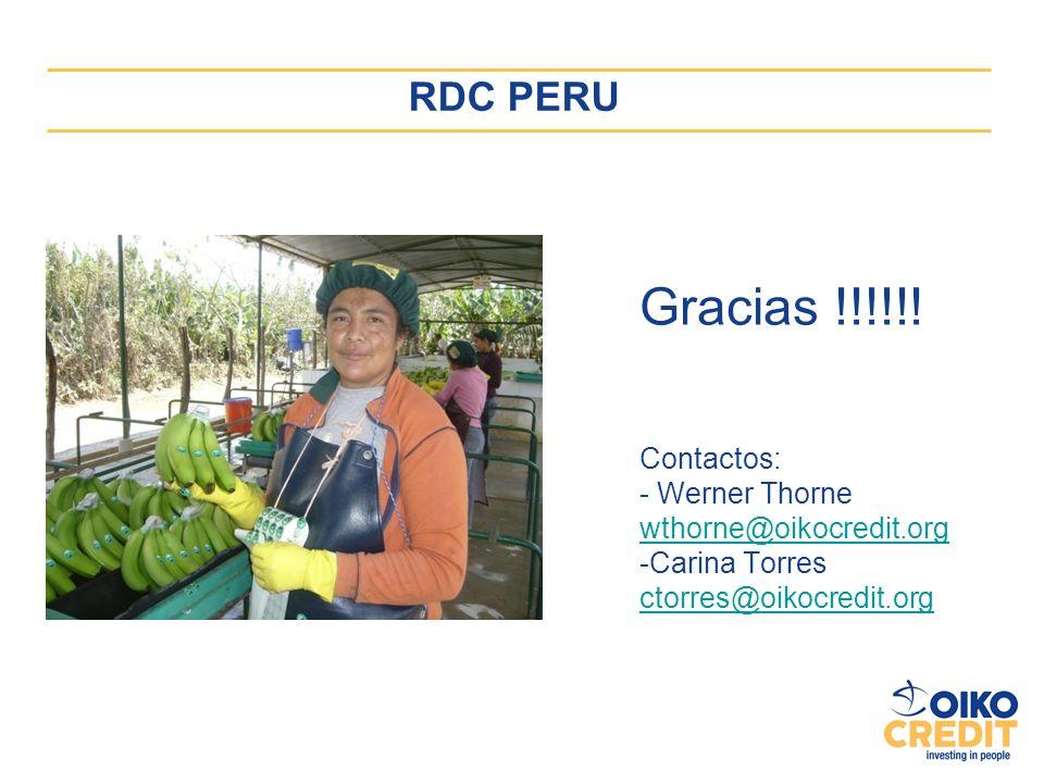 Gracias !!!!!! Contactos: - Werner Thorne wthorne@oikocredit.org -Carina Torres ctorres@oikocredit.org RDC PERU