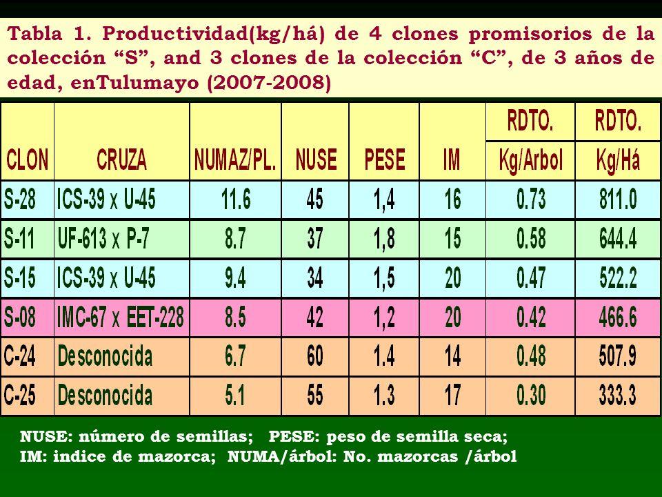Tabla 1. Productividad(kg/há) de 4 clones promisorios de la colección S, and 3 clones de la colección C, de 3 años de edad, enTulumayo (2007-2008) NUS