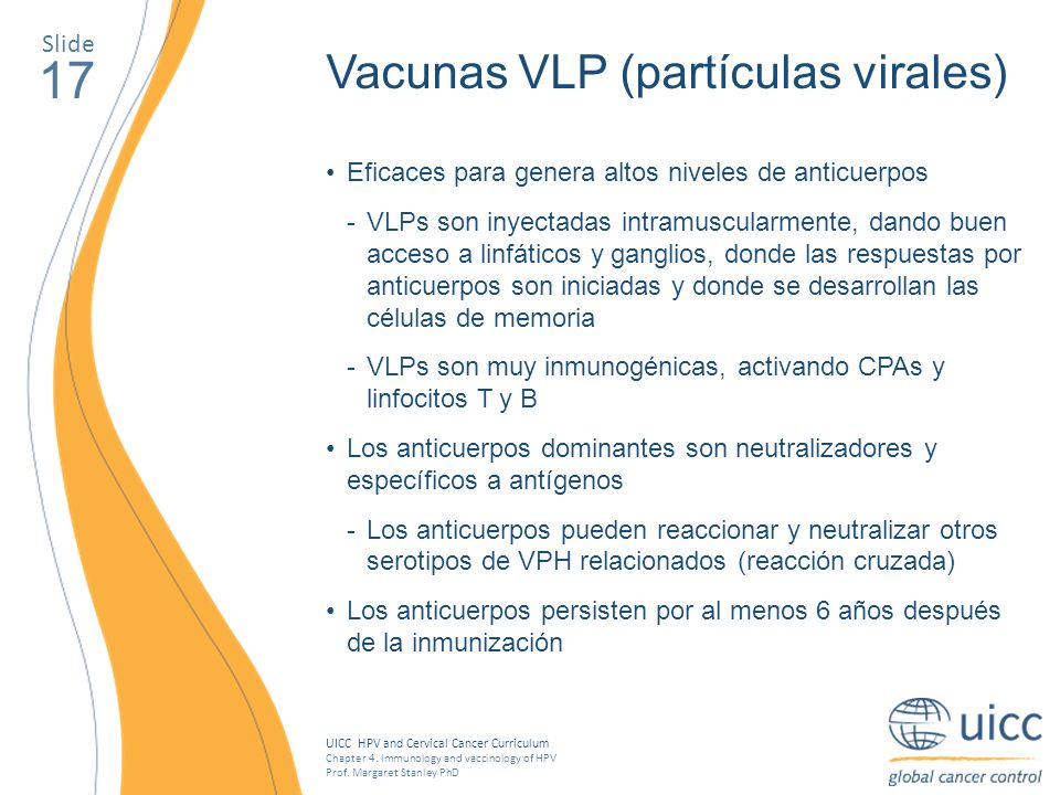 UICC HPV and Cervical Cancer Curriculum Chapter 4. Immunology and vaccinology of HPV Prof. Margaret Stanley PhD 17 Vacunas VLP (partículas virales) Ef