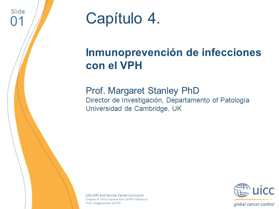 UICC HPV and Cervical Cancer Curriculum Chapter 4. Immunoprevention of HPV infections Prof. Margaret Stanley PhD Slide 01 Capítulo 4. Inmunoprevención