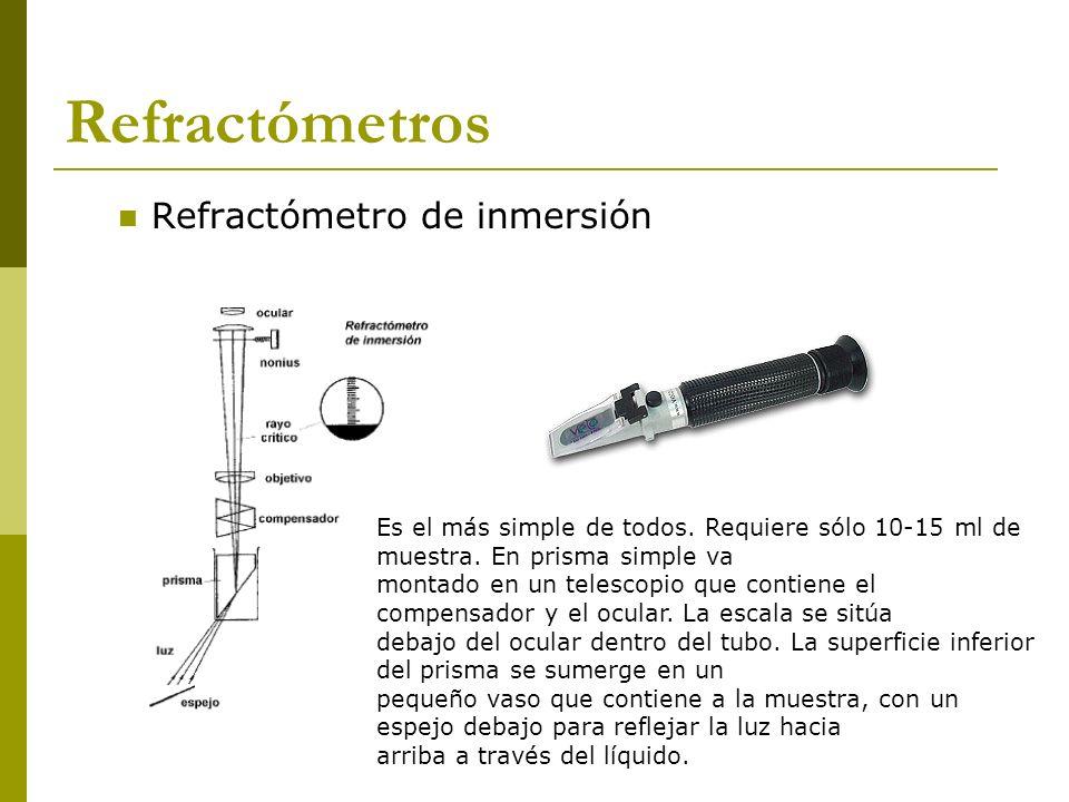 Refractómetro de inmersión Refractómetros Es el más simple de todos. Requiere sólo 10-15 ml de muestra. En prisma simple va montado en un telescopio q