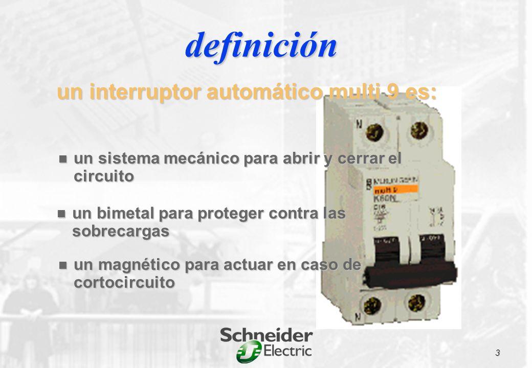 un sistema mecánico para abrir y cerrar el circuito un sistema mecánico para abrir y cerrar el circuito un bimetal para proteger contra las sobrecargas un bimetal para proteger contra las sobrecargas un magnético para actuar en caso de cortocircuito un magnético para actuar en caso de cortocircuito definición un interruptor automático multi 9 es: 3