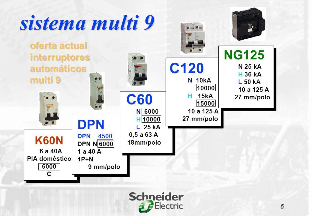 K60N C60N / DPN C60H,L NG125 C120 sistema multi 9 7