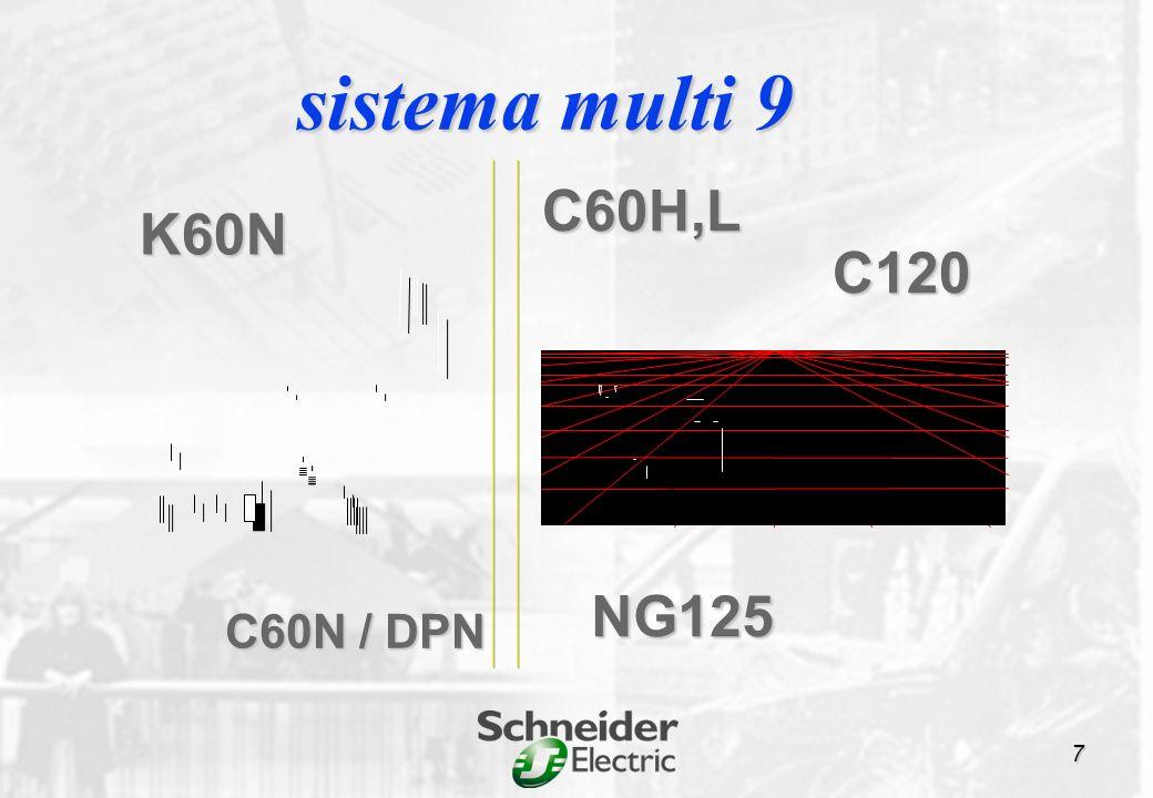 K60N 6 a 40A PIA doméstico C C120 N B, C, D H B, C, D 10 a 125 A 27 mm/polo oferta multi 9 NG125 N B, C, D H C L B, C, D, MA 10 a 125 A 27 mm/polo NG125 N B, C, D H C L B, C, D, MA 10 a 125 A 27 mm/polo C60 N B, C, D H B, C, D L C, Z, MA 0,5 a 63 A 18 mm/polo curva de disparo 18