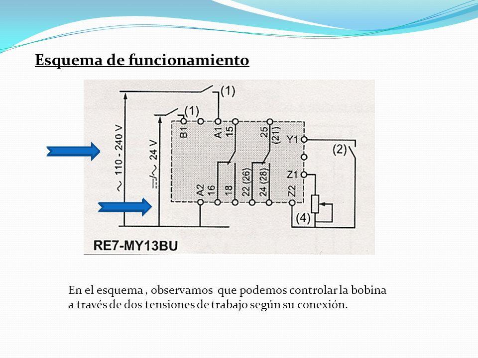 Esquema de funcionamiento En el esquema, observamos que podemos controlar la bobina a través de dos tensiones de trabajo según su conexión.