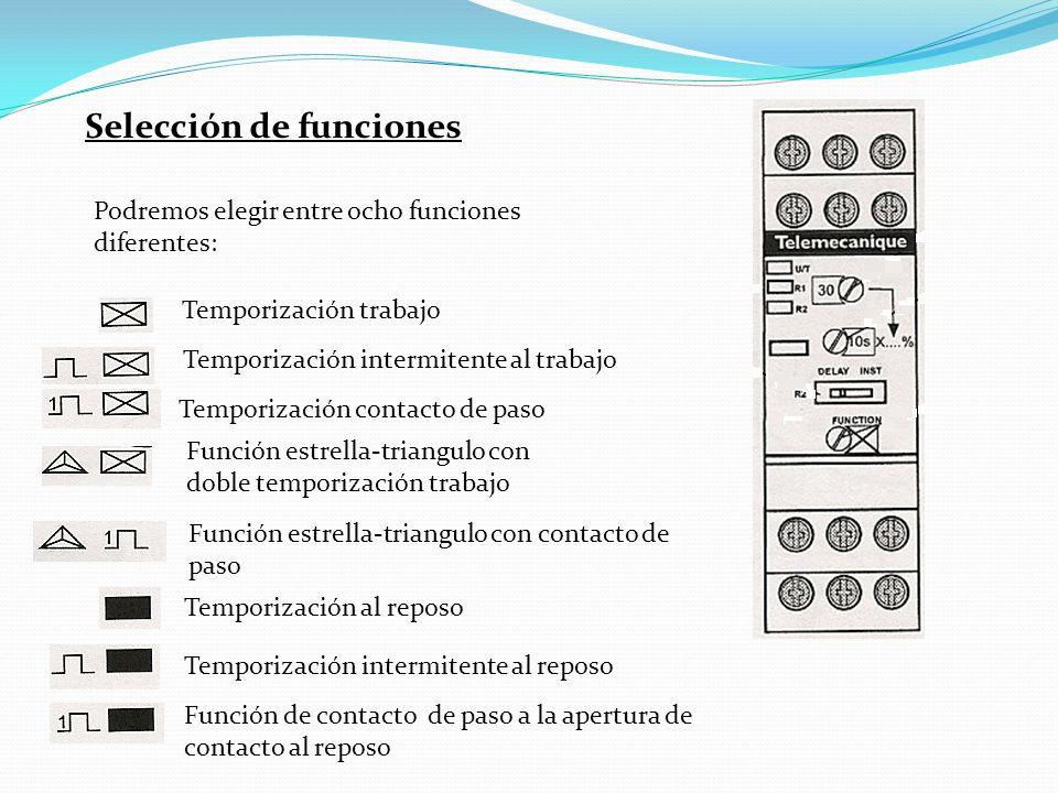 Selección de funciones Podremos elegir entre ocho funciones diferentes: Temporización trabajo Temporización intermitente al trabajo Temporización contacto de paso Función estrella-triangulo con doble temporización trabajo Función estrella-triangulo con contacto de paso Temporización al reposo Temporización intermitente al reposo Función de contacto de paso a la apertura de contacto al reposo