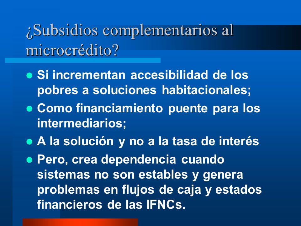 ¿Subsidios complementarios al microcrédito? Si incrementan accesibilidad de los pobres a soluciones habitacionales; Como financiamiento puente para lo