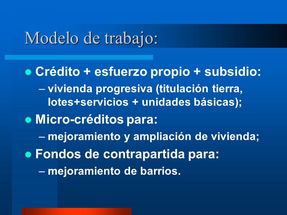 Modelo de trabajo: Crédito + esfuerzo propio + subsidio: –vivienda progresiva (titulación tierra, lotes+servicios + unidades básicas); Micro-créditos