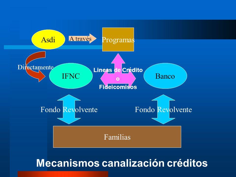 Programas BancoIFNC Fondo Revolvente Lineas de Crédito o Fideicomisos Familias Mecanismos canalización créditos A través Asdi Directamente