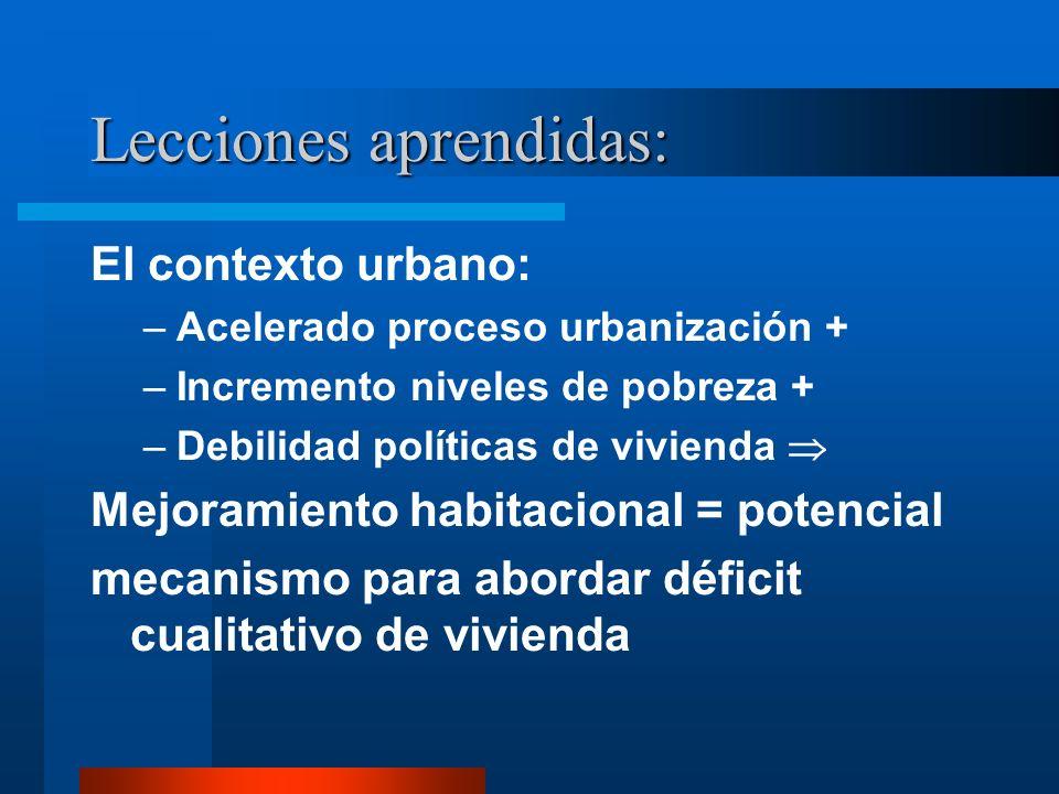 Lecciones aprendidas: El contexto urbano: –Acelerado proceso urbanización + –Incremento niveles de pobreza + –Debilidad políticas de vivienda Mejorami