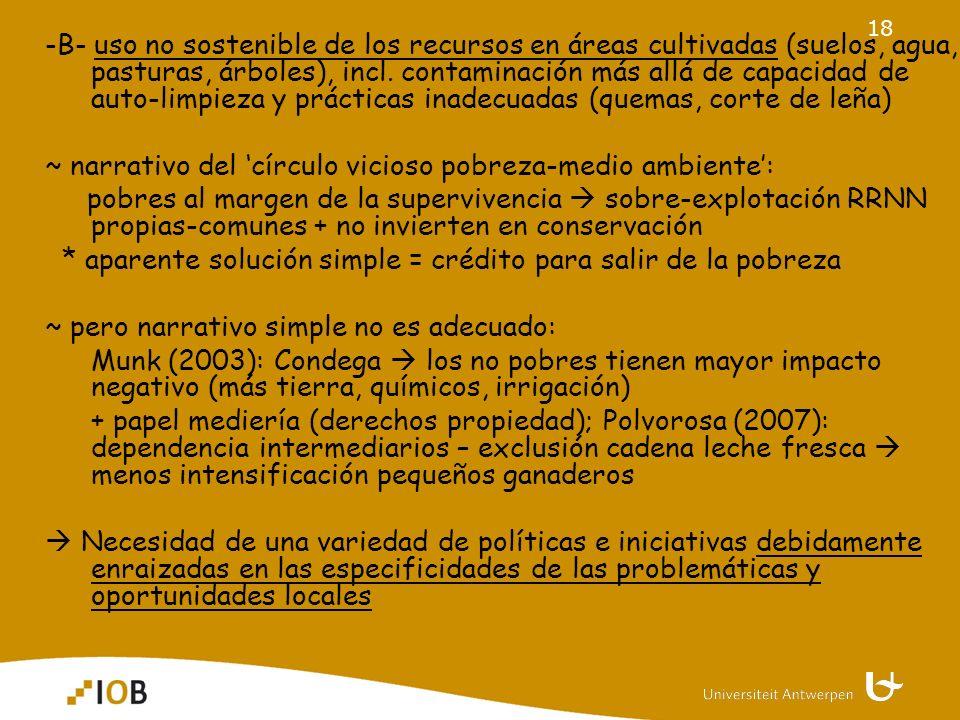 18 -B- uso no sostenible de los recursos en áreas cultivadas (suelos, agua, pasturas, árboles), incl.