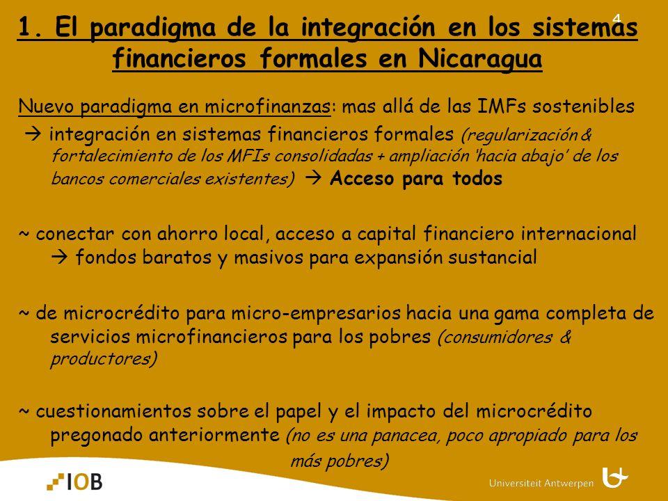 4 1. El paradigma de la integración en los sistemas financieros formales en Nicaragua Nuevo paradigma en microfinanzas: mas allá de las IMFs sostenibl