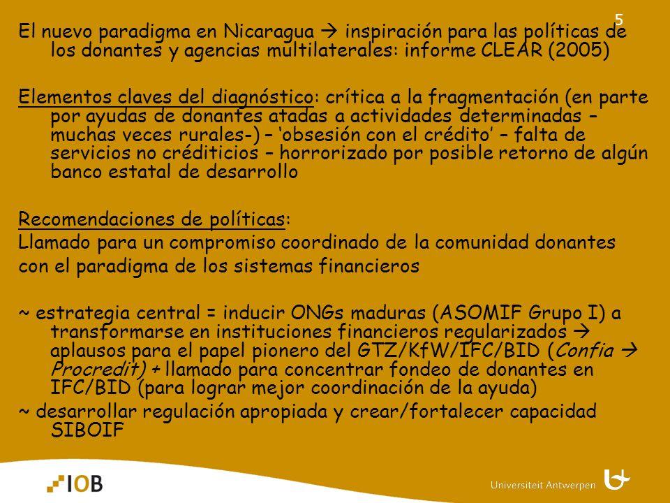6 traducido en apoyo para ONGs-IMFs reguladas o en vía de regulación ~ Procredit; Findesa; Fama; Acodep, … ~ inicialmente IMFs con enfoque más comercial, urbano ¿ Apoyo .