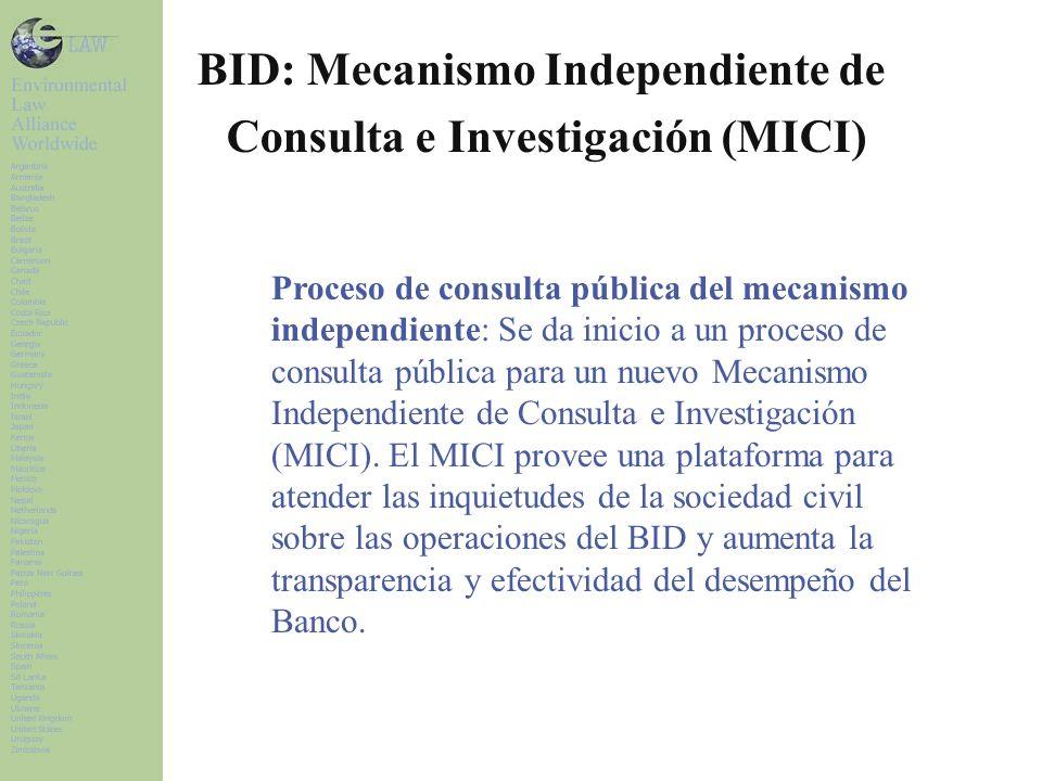 Proceso de consulta pública del mecanismo independiente: Se da inicio a un proceso de consulta pública para un nuevo Mecanismo Independiente de Consulta e Investigación (MICI).