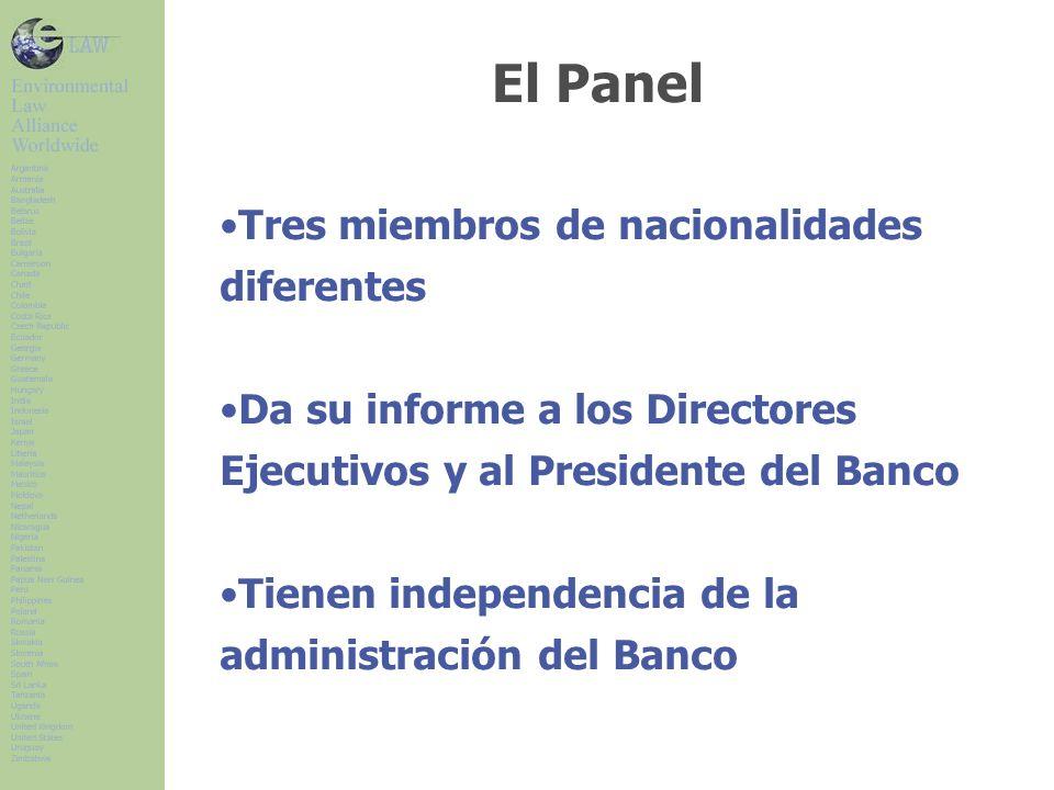 Tres miembros de nacionalidades diferentes Da su informe a los Directores Ejecutivos y al Presidente del Banco Tienen independencia de la administración del Banco El Panel