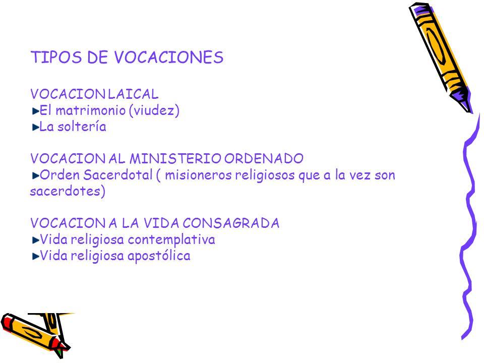TIPOS DE VOCACIONES VOCACION LAICAL El matrimonio (viudez) La soltería VOCACION AL MINISTERIO ORDENADO Orden Sacerdotal ( misioneros religiosos que a