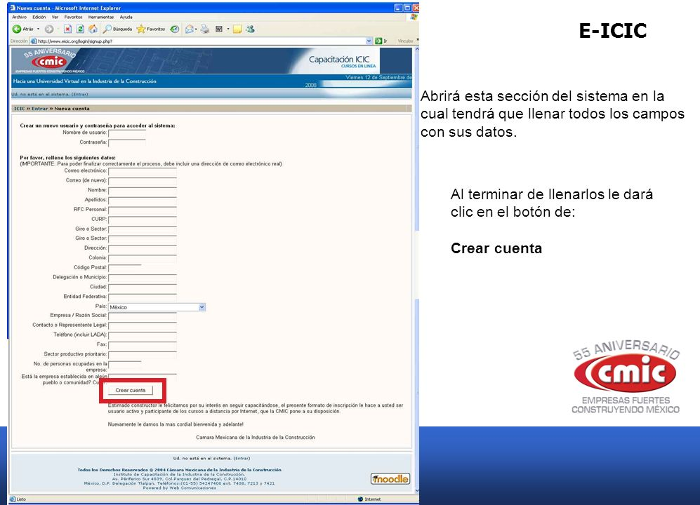 E-ICIC Abrirá esta sección del sistema en la cual tendrá que llenar todos los campos con sus datos.